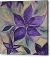Purple Clematis Abstract Canvas Print