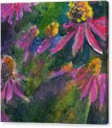 Purple Cone Flowers Outside Beye School Canvas Print
