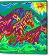Purple Feathered Horses Canvas Print