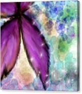 Purple Flower Watercolor Doodle Canvas Print