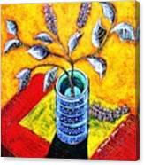 Purple Flowers On Orange Background Canvas Print