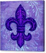 Purple French Fleur De Lys, Floral Swirls Canvas Print