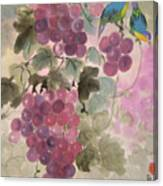 Purple Grapes And Blue Birds Canvas Print