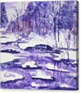 Purple Ice On Kaaterskill Creek Canvas Print