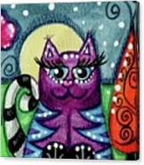 Purple Kitty with Blue Stripes in Moonlight Canvas Print