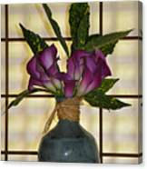 Purple Lilies In Japanese Vase Canvas Print