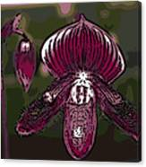 Purple Orchid Woodcut Canvas Print