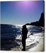 Purple Sun Evening Beach Canvas Print