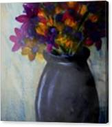 Purple vase and flowers Canvas Print