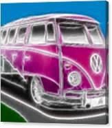 Purple Vw Bus Canvas Print