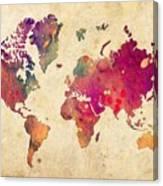 Purple World Map Watercolor Print  Canvas Print