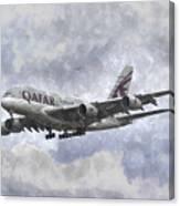 Qatar Airlines Airbus And Seagull Escort Art Canvas Print