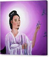 Quan Yin With Three Dragonflies Canvas Print