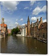 Quay Of The Rosary In Bruges Belgium Canvas Print