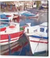 Quay On The Island Of Crete Canvas Print