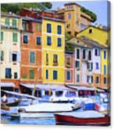 Quayside At Portofino Canvas Print