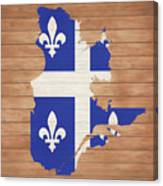 Quebec Rustic Map On Wood Canvas Print