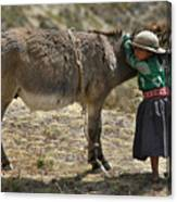 Quechua Girl Hugging His Donkey. Republic Of Bolivia. Canvas Print