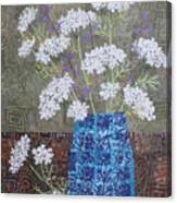 Queen Anne's Lace In Blue Vase Canvas Print