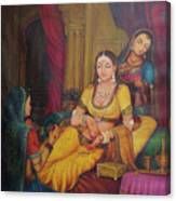 Queen Princess Sitting  Dressing From Her Maids Kaneej  Royal Art Oil Painting On Canvas Canvas Print