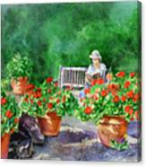 Quiet Moment Reading In The Garden Canvas Print
