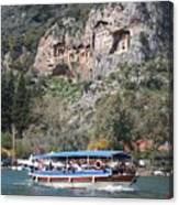 Quintessentially Dalyan River Boats And Rock Tombs Canvas Print