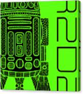 R2d2 - Star Wars Art - Green Canvas Print