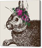 Rabbit And Roses Canvas Print