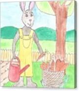 Rabbit Gardening In The Kitchen Garden Canvas Print