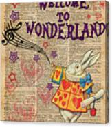 Rabbit Welcome To .. Alice In Wonderland Canvas Print