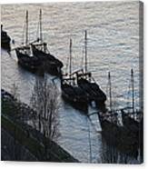 Rabelo Boats On Douro River In Portugal Canvas Print