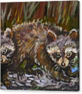 Raccoons From River Mural Canvas Print