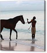 Race Horse And Groom 2 Canvas Print