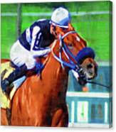 Racehorse And Jockey Canvas Print