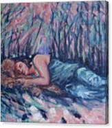Rachel In The Sun-splattered Forest Canvas Print