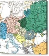 Racial Map Of Europe Circa 1923 Canvas Print