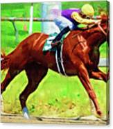 Racing In The Stretch Canvas Print