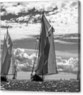 Racing On Open Waters B-w Canvas Print