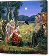 Radha Lamenting With The Gopis Canvas Print