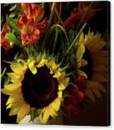 Radiant Sunflowers And Peruvian Lilies Canvas Print