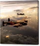 Raf Lancaster And Spitfire Canvas Print