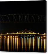 Railroad And Bourne Bridge At Night Cape Cod Canvas Print