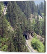 Railroad And Tunnels On Mountain Canvas Print
