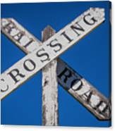 Railroad Crossing Wooden Sign Canvas Print