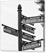 Railroad Directions_bw Canvas Print