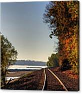 Railroad Track By The Mississippi  Canvas Print