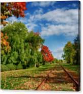 Railroad Tracks At Grand-pre National Historic Site Canvas Print