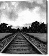Railroad Tracks - Charcoal Canvas Print