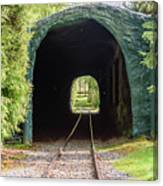 The Railway Passing Through The Tunnel To Meet The Light Canvas Print