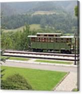 Railway Station On Mountain Vintage Canvas Print